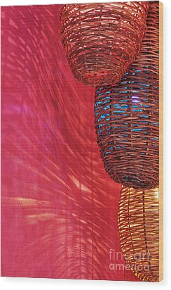 Wicker Light Shades And Pink Wall Wood Print by Jeremy Woodhouse