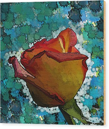 Wild And Crazy Rose Bud Wood Print by Debbie Portwood