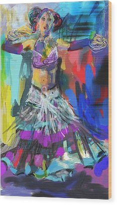 Wild Belly Dancer Wood Print by Barbara Kelley