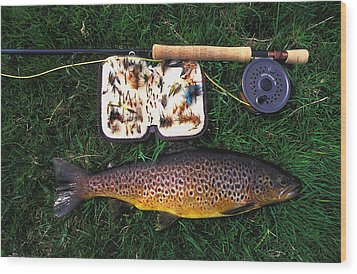 Wild Brown Trout And Fishing Rod Wood Print by Axiom Photographic