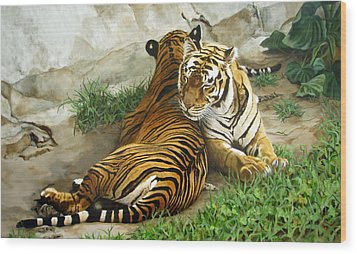 Wood Print featuring the painting Wild Content by Sandra Chase
