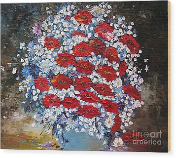Wild Flowers Wood Print by AmaS Art