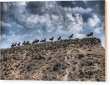 Wild Horses Monument Wood Print by Spencer McDonald