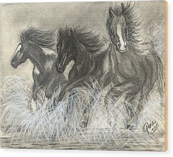 Wild Horses Run Wood Print by Gina Cordova