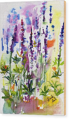 Wild Lupines Watercolor By Ginette Wood Print by Ginette Callaway