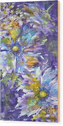 Wood Print featuring the painting Wild Purple Roses by Kathleen Pio