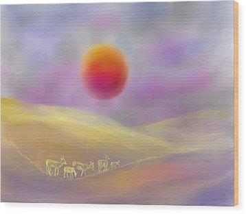 Wildfire Sunrise Wood Print by Dawn Senior-Trask