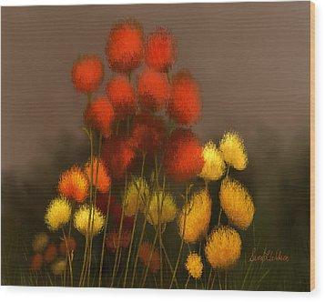 Wildflowers In Symphony Wood Print
