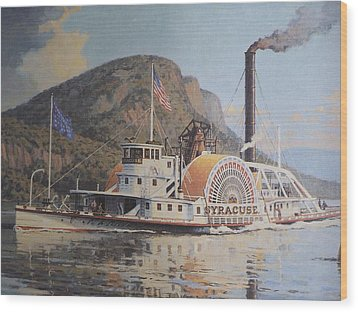 William G Muller Lithograph Towboat Syracuse  Wood Print by Jake Hartz