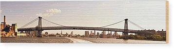 Williamsburg Bridge And The New York City Skyline Panorama Wood Print by Vivienne Gucwa