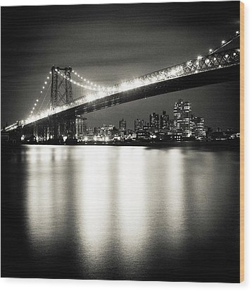 Williamsburg Bridge At Night Wood Print by Adam Garelick