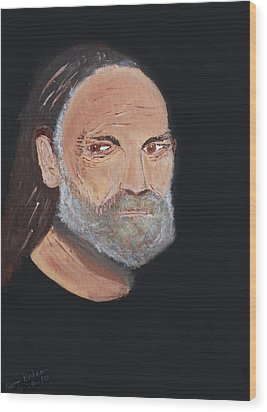 Willie Nelson In Black Wood Print by Swabby Soileau