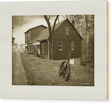 Williston Mill - Sepia Wood Print by Brian Wallace