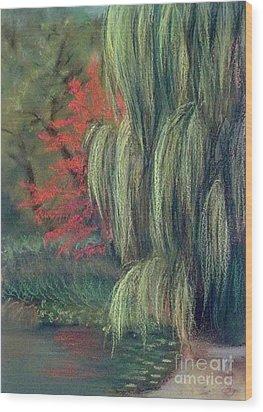 Wood Print featuring the drawing Willow Tree - Hidden Lake Gardens -tipton Michigan by Yoshiko Mishina