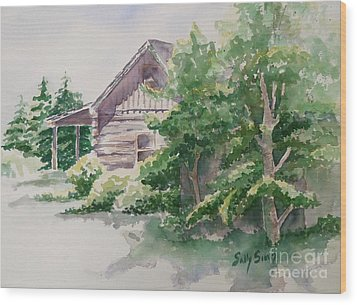 Wood Print featuring the painting Will's Cabin by Sally Simon