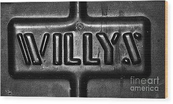 Willys Emblem Wood Print by Juls Adams