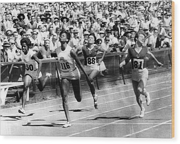 Wilma Rudolph, Winning The Womens Wood Print by Everett