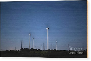 Wind Farm At Night Wood Print by Keith Kapple