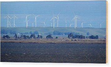 Wind Farm On The Delta Wood Print by Bonnie Muir