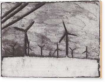 Wind Farming Wood Print by Taylor Lee Bisbee