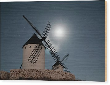 Wind Mills In Light Of Moon Wood Print by Noviembre Anita Vela