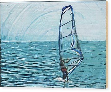 Wind Surfer Wood Print by Tilly Williams