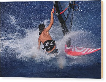 Wind Surfing Wood Print by Manolis Tsantakis