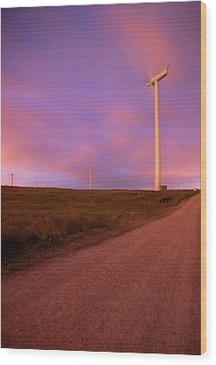 Wind Turbines At Night Wood Print by photography by Spencer Bowman