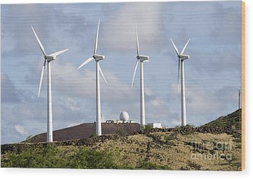 Wind Turbines At The Ascension Wood Print by Stocktrek Images