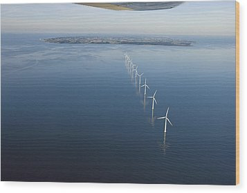Wind Turbines Provide Energy Wood Print by Andrew Henderson