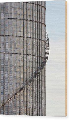 Winding Aluminum Stairs Wood Print by Ryan McGinnis