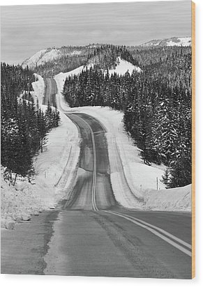 Winding Winter Roads Wood Print by Peter Bowers