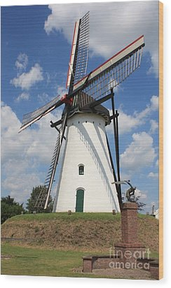 Windmill And Blue Sky Wood Print by Carol Groenen
