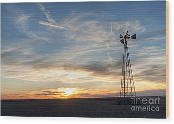 Windmill And Sunset Wood Print by Art Whitton