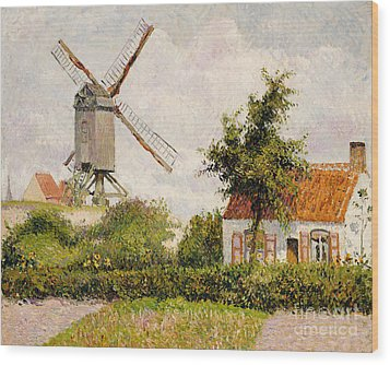 Windmill At Knokke Wood Print by Camille Pissarro