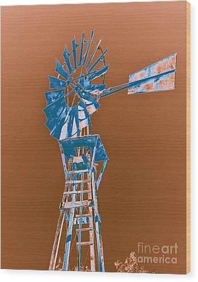 Windmill Blue Wood Print by Rebecca Margraf