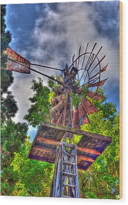 Windmill Hdr Wood Print
