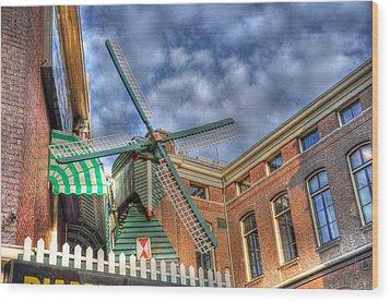 Windmill Of Amsterdam Wood Print by Barry R Jones Jr