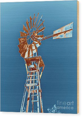 Windmill Rust Orange With Blue Sky Wood Print