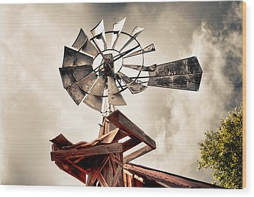Windmill With Storm Approaching Wood Print by James Bethanis