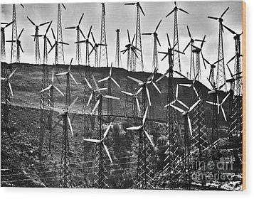 Windmills By Tehachapi  Wood Print by Susanne Van Hulst