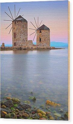 Windmills  Wood Print by Emmanuel Panagiotakis