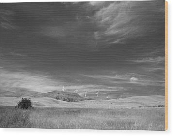 Wood Print featuring the photograph Windmills In The Distant Hills by Kathleen Grace