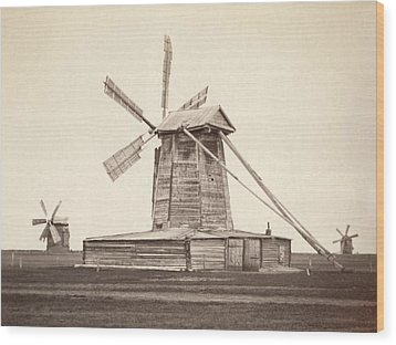 Windmills Near Omsk, Siberia Wood Print by Everett