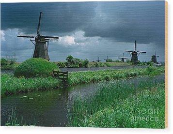 Windmills Of Kinderdijk  Wood Print by Serge Fourletoff