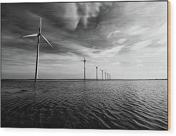 Windmills Out At Sea Wood Print by Kenneth McNeil