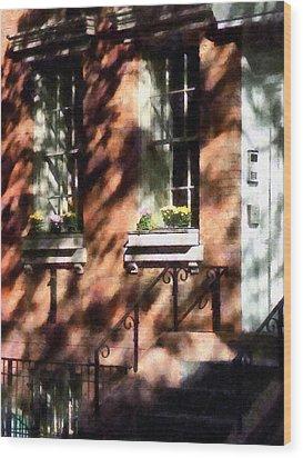 Window Boxes Greenwich Village Wood Print by Susan Savad