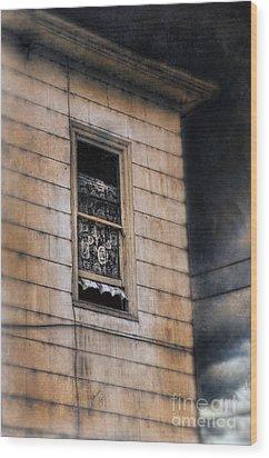 Window In Old House Stormy Sky Wood Print by Jill Battaglia