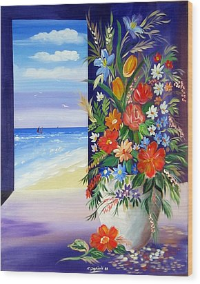 Wood Print featuring the painting Window On The Beach by Roberto Gagliardi