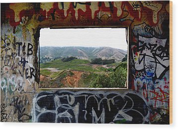 Window Through The Paint Wood Print